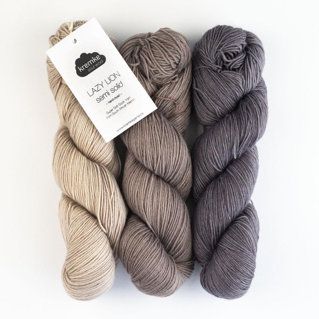 Kremke Soul Wool Lazy Lion Strømpegarn Ensfarvet meleret