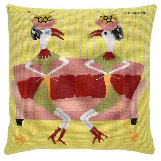 Fru Zippe Pillow Knitting Hens 740348 Strickende Hühner