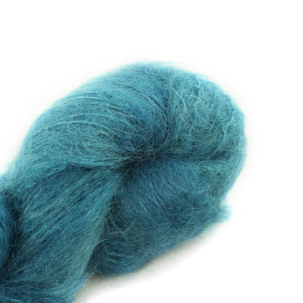 Cowgirl Blues Fluffy Mohair Semi Solids 100g 17-Guinea Fowl