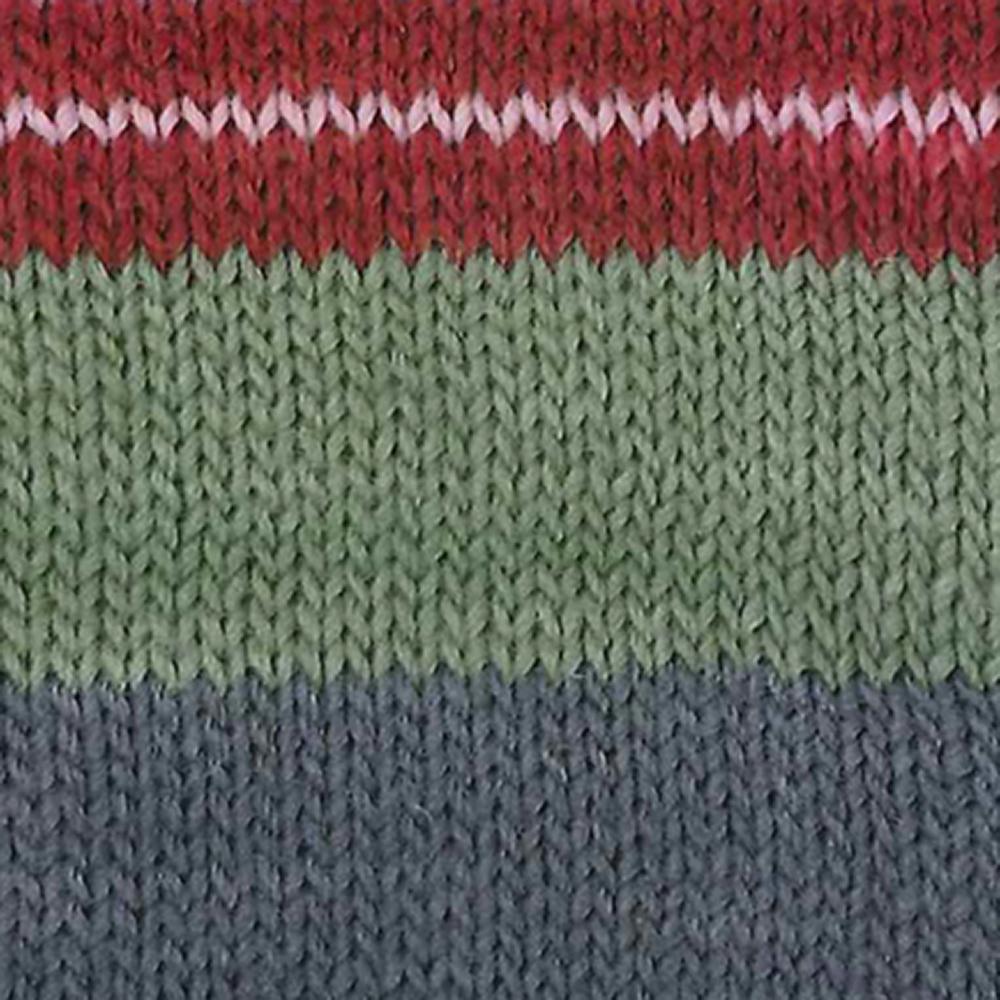 Kremke Soul Wool Edelweiss 6 ply 150 Red with grey striped