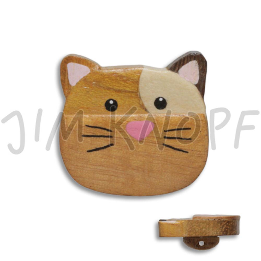 Jim Knopf Wood button mouse or rabbit 32mm Katze