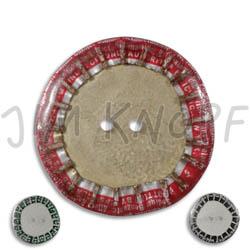 Jim Knopf Button from recycled crown cap 28mm Innen graubeige außen unterschiedlich