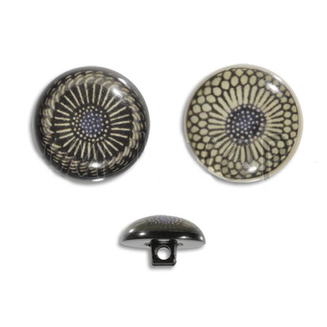 Jim Knopf Resin button flower motiv 18mm  Schwarz