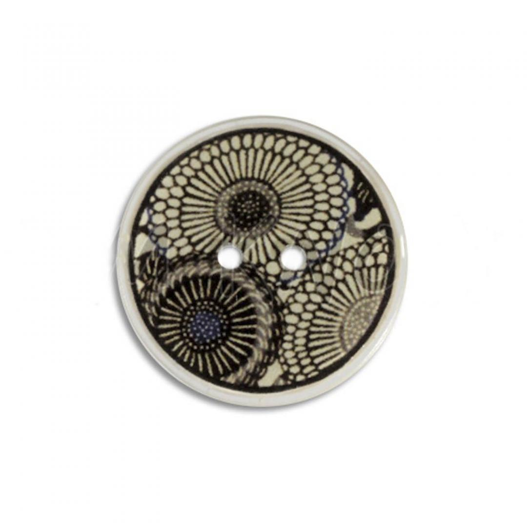 Jim Knopf Coco wood button flower motiv ecru 23mm