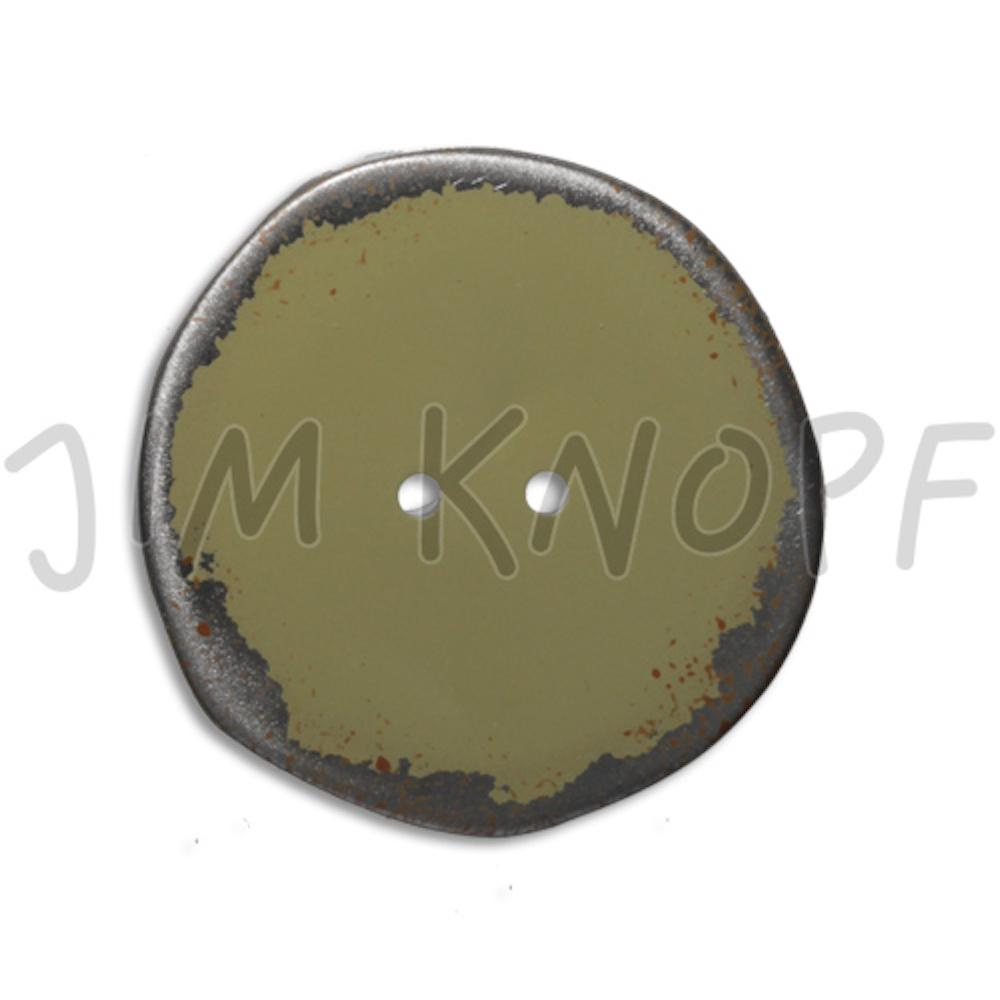 Jim Knopf Button from recycled crown cap used look 30mm Oliv