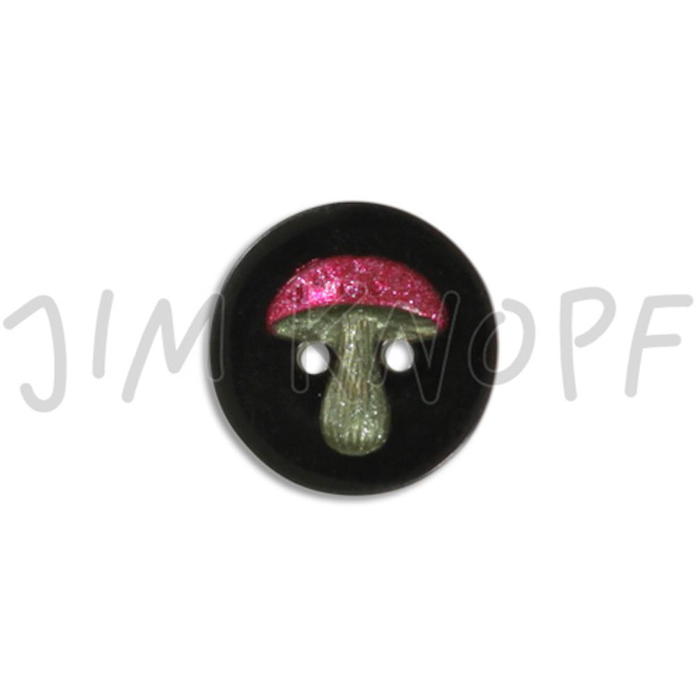 Jim Knopf Resin button with mushroom different sizes  Schwarzer Grund