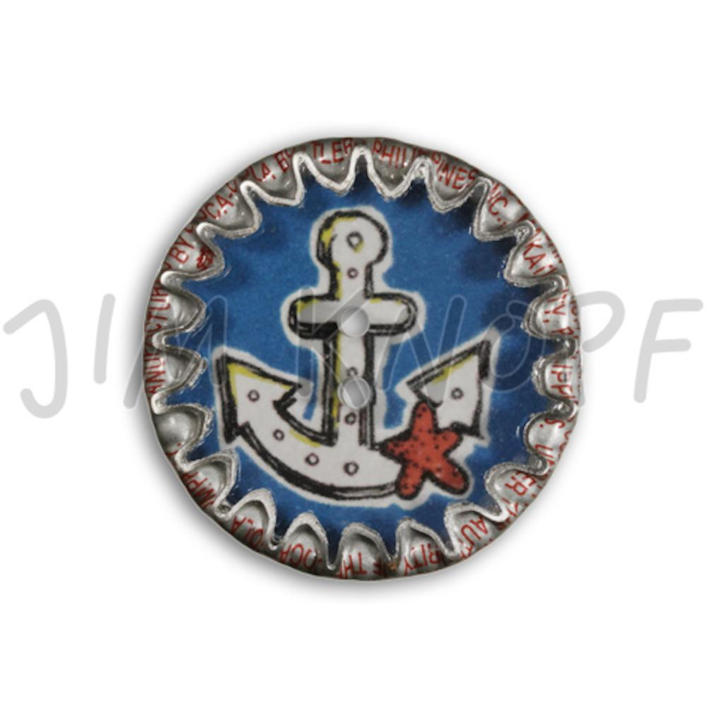 Jim Knopf Button from recycled crown cap anchor motiv 26mm Weiss auf Blau