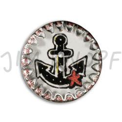 Jim Knopf Button from recycled crown cap anchor motiv 26mm Schwarz auf Weiss