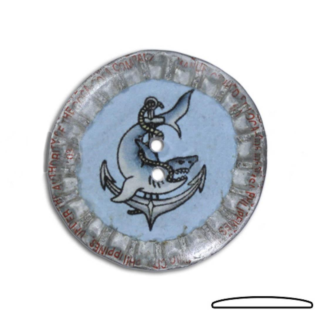 Jim Knopf Button from recycled crown cap 31mm  Mitte Weiss