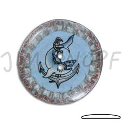 Jim Knopf Button from recycled crown cap 31mm Mitte Hellblau