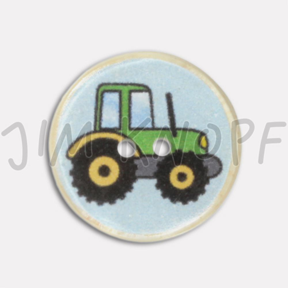 Jim Knopf Resin button with tractor motiv Grün
