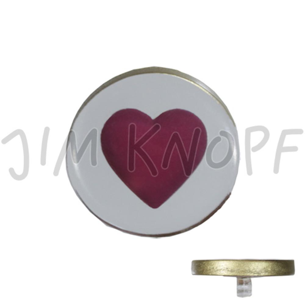 Jim Knopf Resin button with heart motiv 18 or 23mm Rot auf weiss