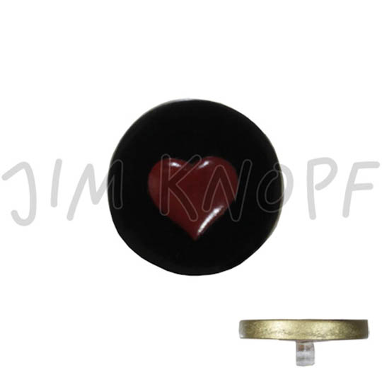 Jim Knopf Resin button with heart motiv 18 or 23mm Rot auf schwarz