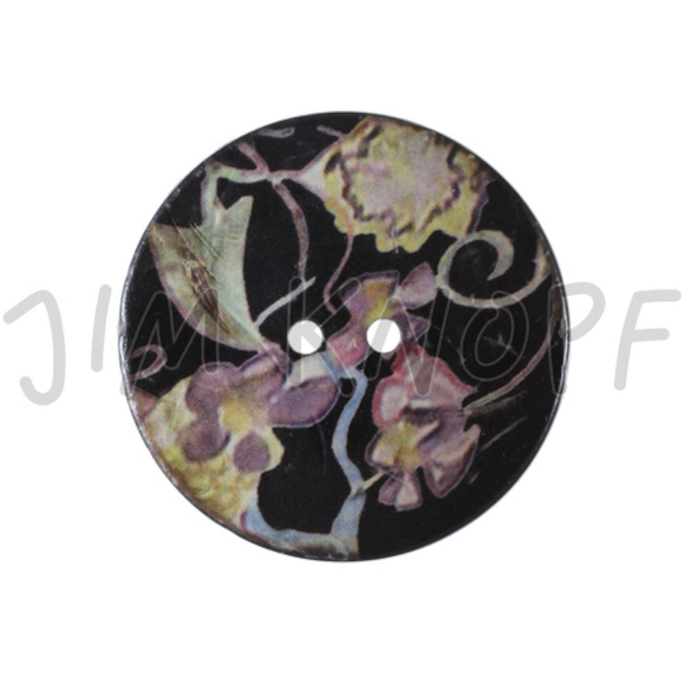 Jim Knopf Large coco wood button with flower motiv 40mm  Schwarz