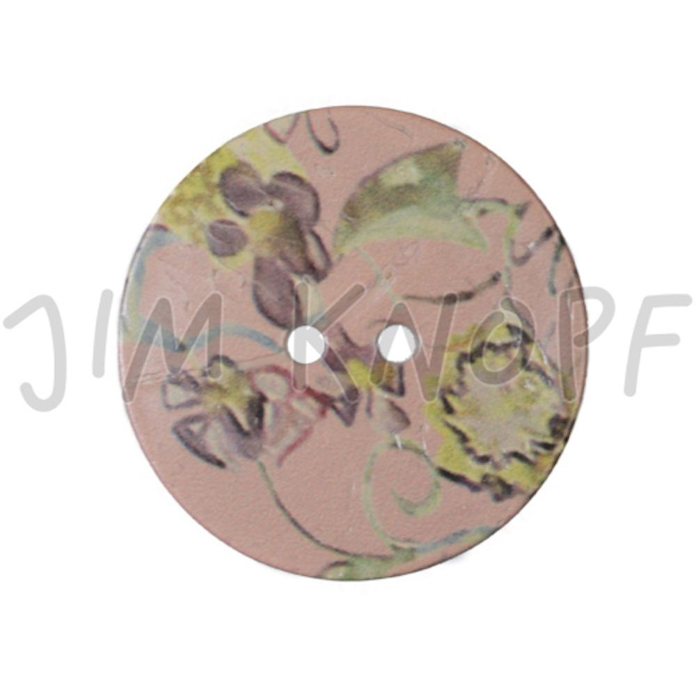 Jim Knopf Large coco wood button with flower motiv 40mm Rose