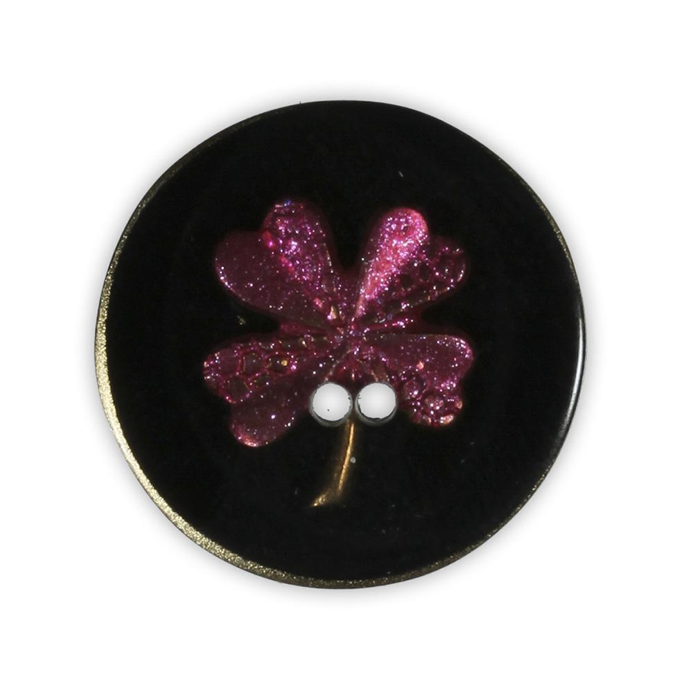 Jim Knopf Resin button flower motiv 18mm Pink auf Schwarz