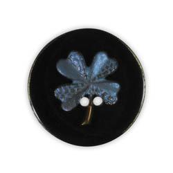 Jim Knopf Resin button flower motiv 18mm Blau auf Schwarz
