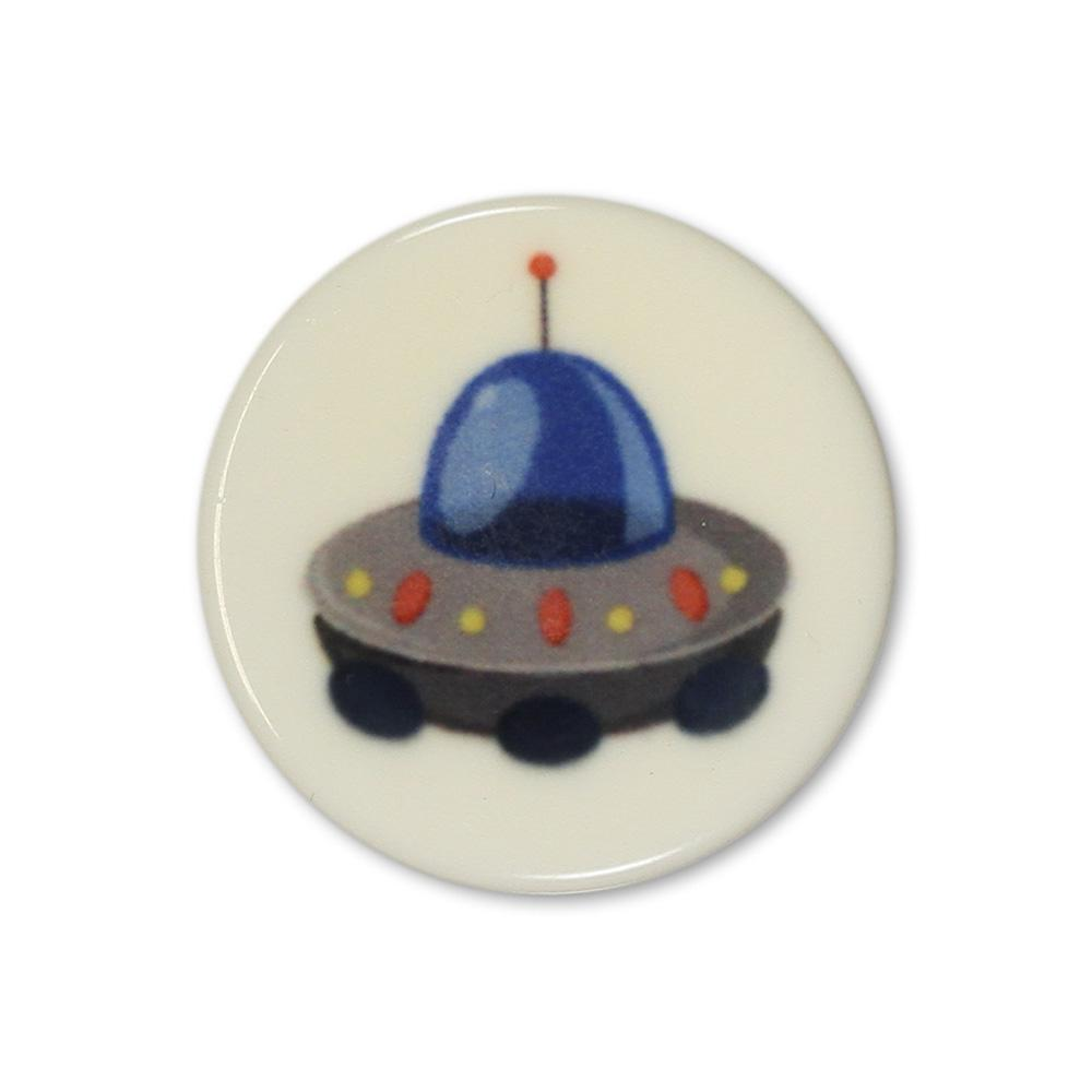 Jim Knopf Colorful plastic button space motiv 18mm Rakete Blau