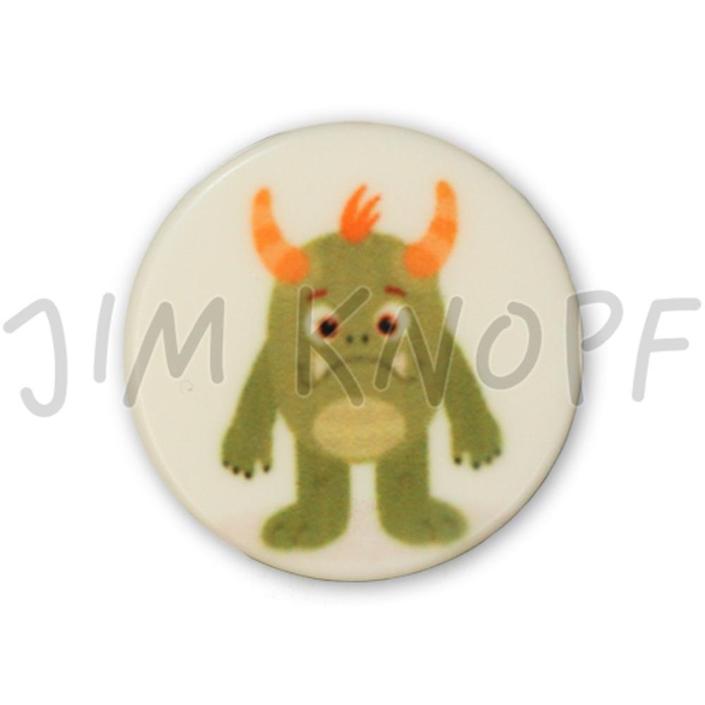 Jim Knopf Colorful plastic button space motiv 18mm Monster Grünling