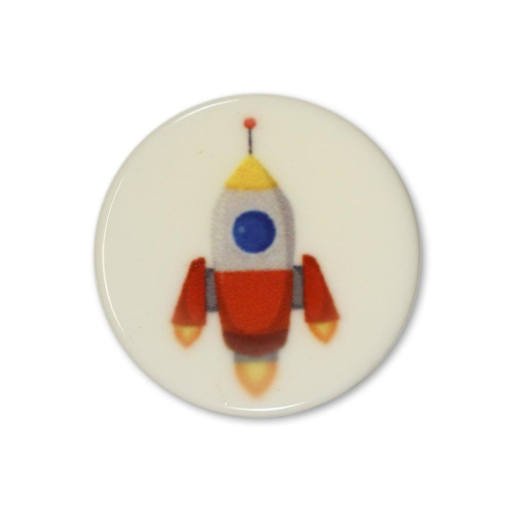 Jim Knopf Colorful plastic button space motiv 18mm Rakete Orange