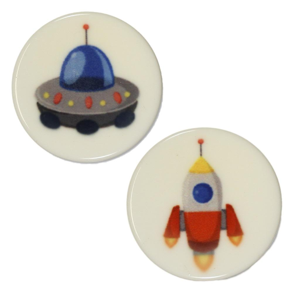 Jim Knopf Colorful plastic button space motiv 18mm  Monster Blau