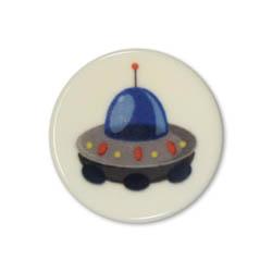 Jim Knopf Colorful plastic button space motiv 18mm Rakete Blau
