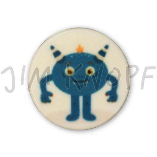 Jim Knopf Colorful plastic button space motiv 18mm Monster Blau