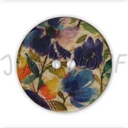 Jim Knopf Resin button flower motiv 18mm Blau
