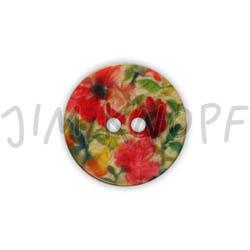 Jim Knopf Resin button flower motiv 18mm Rot