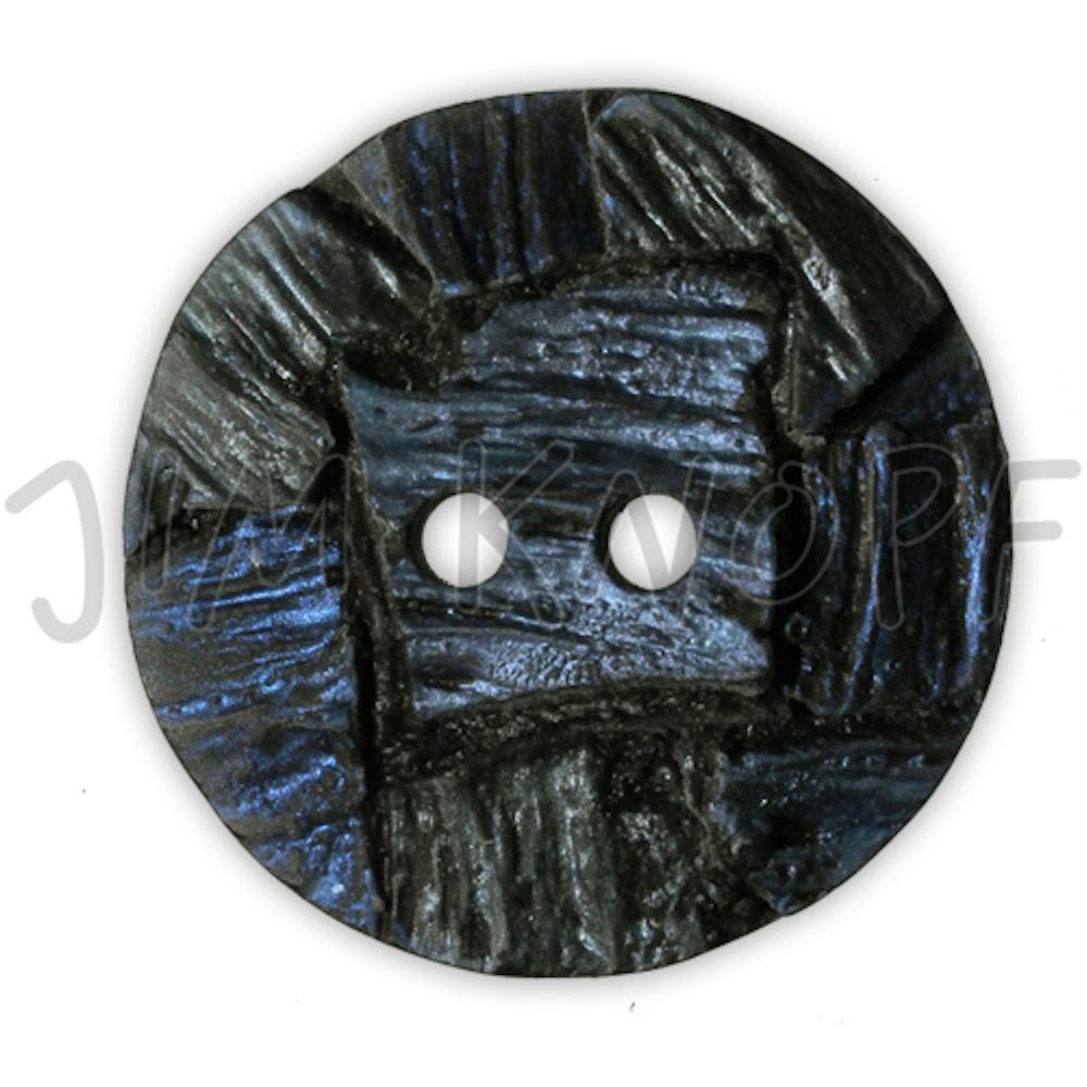Jim Knopf Resin button with interesting texture Schwarz Blau