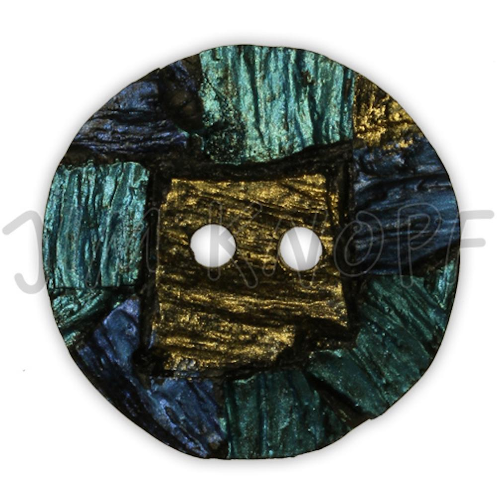 Jim Knopf Resin button with interesting texture Blau Grün Gold