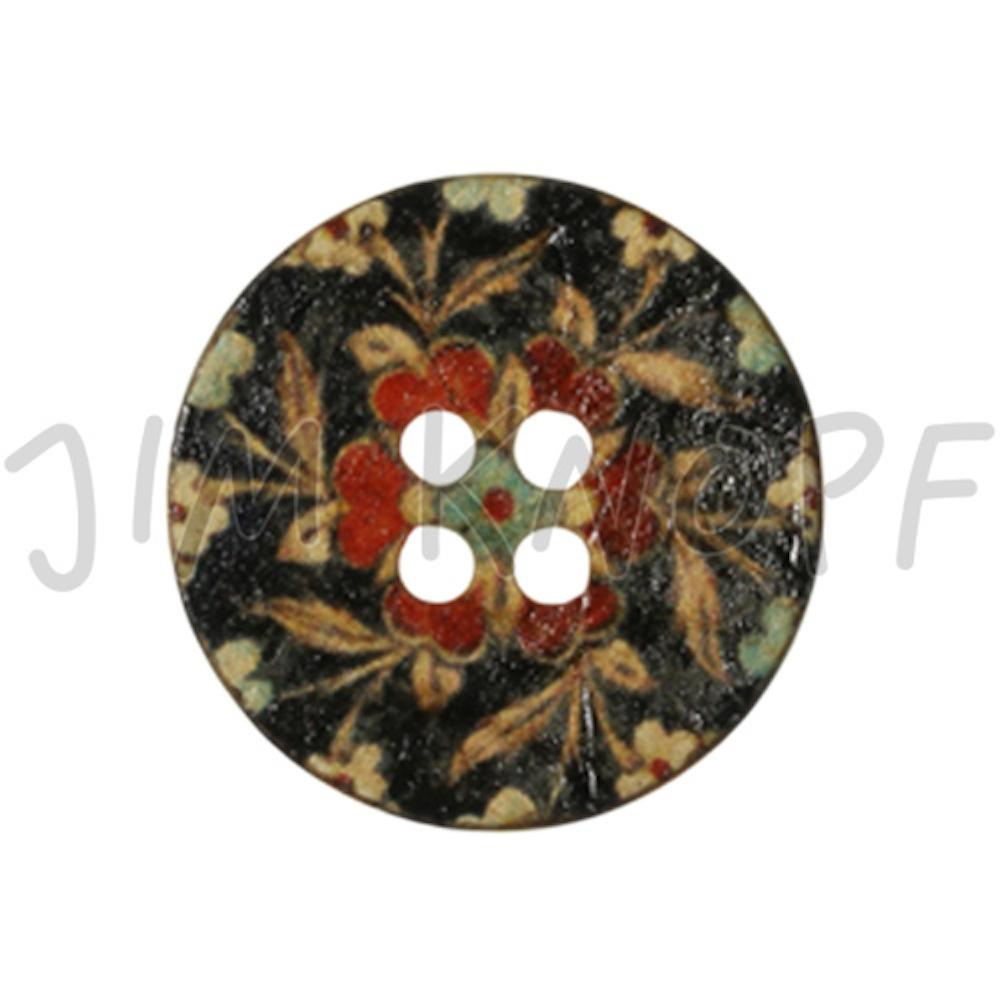 Jim Knopf Coco wood button flower motiv in several sizes  Schwarz Rot