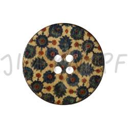 Jim Knopf Coco wood button flower motiv in several sizes Beige-Blau