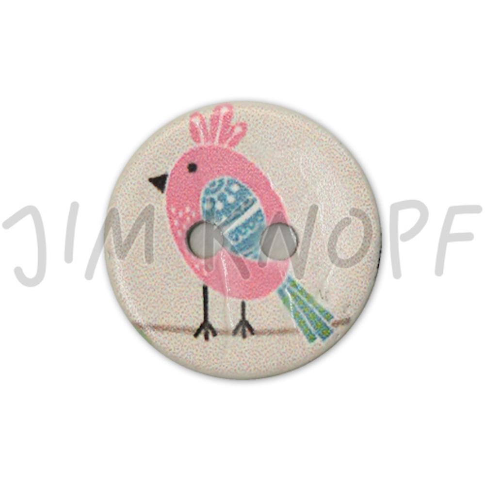 Jim Knopf Coco wood button cute birds 16mm Pink