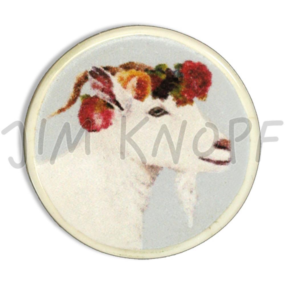 Jim Knopf Resin button goat Hanna 23mm Hellblauer Grund