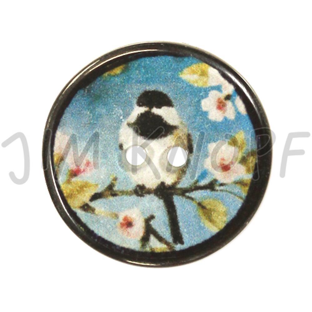 Jim Knopf Resin button Japanese bird motiv 20mm  Hellblauer Grund