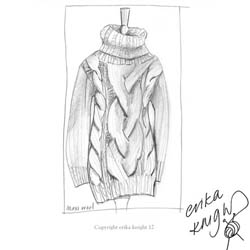 Erika Knight Trykte opskrifter til Maxi Wool discontinued designs Cable Stitch Maxi Sweater Englisch