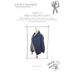 Erika Knight Trykte opskrifter til Maxi Wool discontinued designs 27 Edge to Edge Cardi ENG