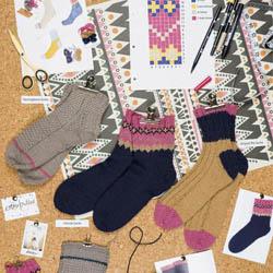 Erika Knight Trykte opskrifter til British Blue 100 discontinued designs K3 Socks ENG