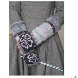Erika Knight Printed Patterns for Vintage and Fur Wool Floral Fairisle Mittens Englisch Vintage Wool