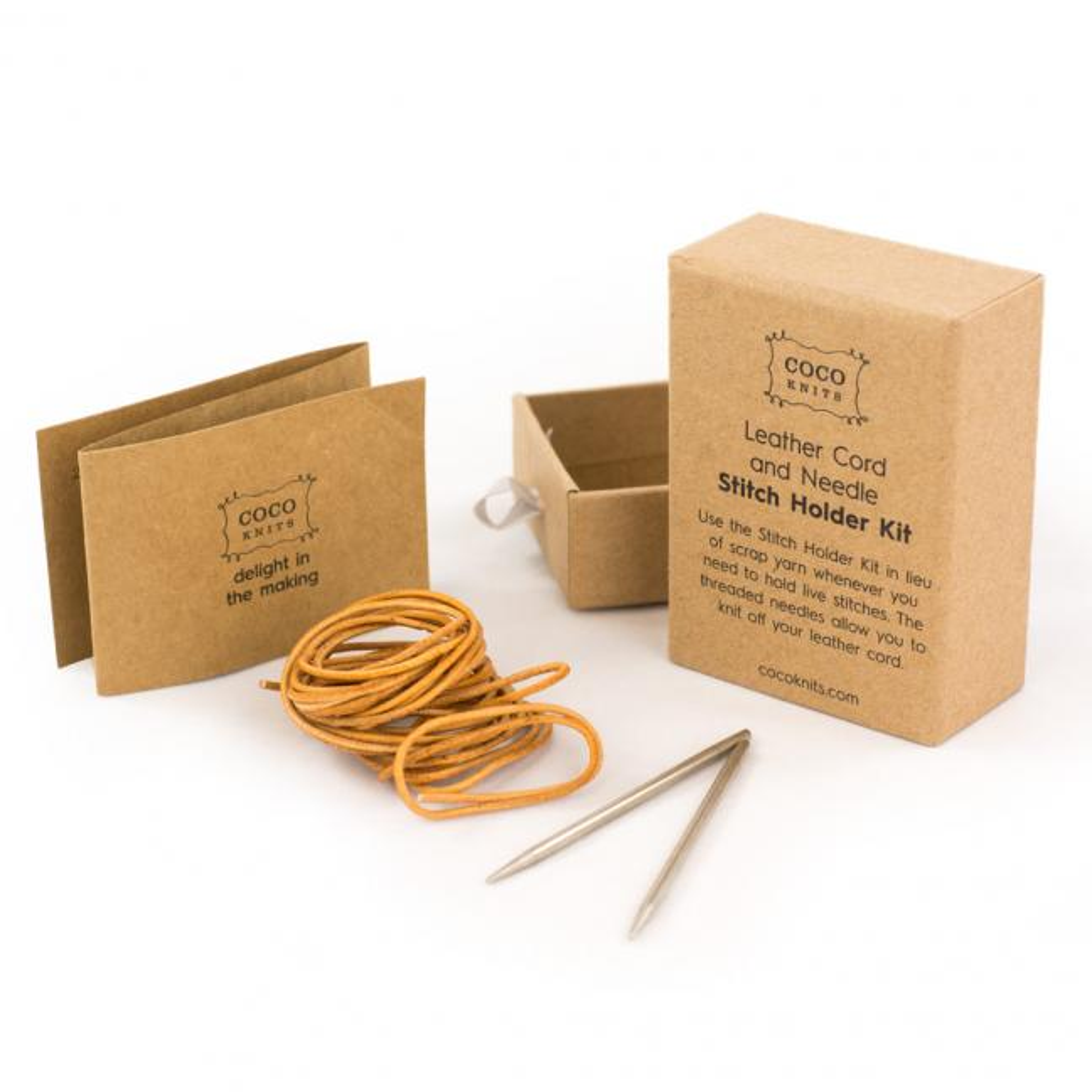 CocoKnits Leather cord and Needle kit.  Maschenhalter Lederband mit Nadel